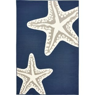 castano-sea-star-duo-navygray-indooroutdoor-area-rug Beach Rugs and Beach Area Rugs