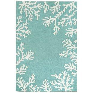 claycomb-coral-border-hand-tufted-aqua-indooroutdoor-area-rug-1 Coastal Rugs and Coastal Area Rugs
