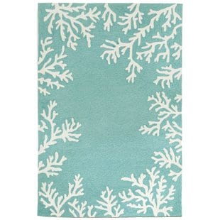 claycomb-coral-border-hand-tufted-aqua-indooroutdoor-area-rug Beach Rugs and Beach Area Rugs