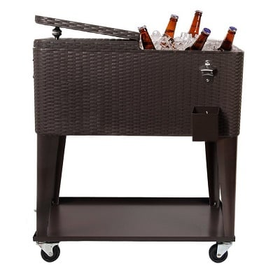 clevr-outdoor-patio-rolling-ice-chest-cooler Tiki Bar Ideas & Tiki Bar Decorations