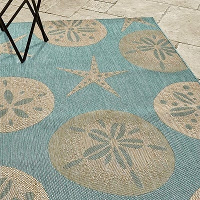 gertmenian-nautical-sand-dollar-starfish-area-rug Beach Rugs and Beach Area Rugs