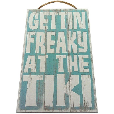 getting-freaky-at-the-tiki-vintage-wood-sign Tiki Bar Ideas & Tiki Bar Decorations