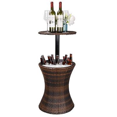 height-adjustable-cool-bar-rattan-style-cooler Tiki Bar Ideas & Tiki Bar Decorations