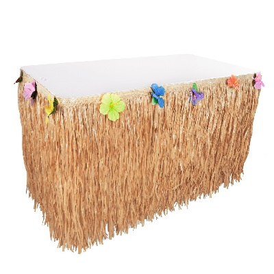 hibiscus-natural-color-string-grass-skirt Tiki Bar Ideas & Tiki Bar Decorations
