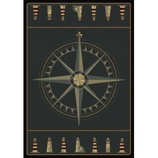 huntwood-compass-novelty-area-rug Beach Rugs and Beach Area Rugs
