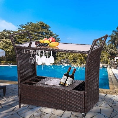 outdoor-patio-wicker-serving-bar-cart Tiki Bar Ideas & Tiki Bar Decorations