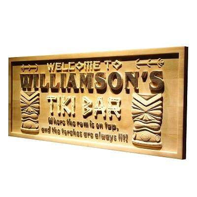 personalized-tiki-bar-mask-beer-engraved-wooden-sign Tiki Bar Ideas & Tiki Bar Decorations