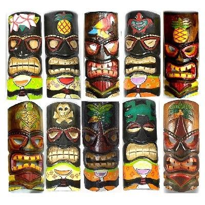 set-of-10-hand-carved-polynesian-hawaiian-tiki-style-masks Tiki Bar Ideas & Tiki Bar Decorations