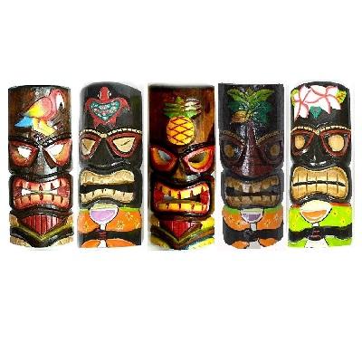 set-of-5-hand-carved-hawaiian-tiki-masks Tiki Bar Ideas & Tiki Bar Decorations