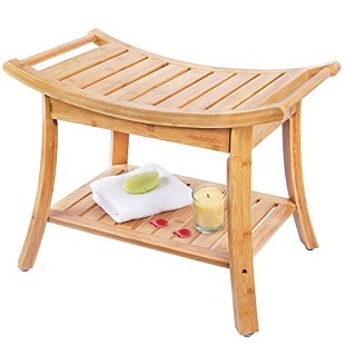 shower-bench-teak-wood-2-tier-storage-racks-slatted Teak Shower Benches
