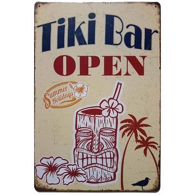 tiki-bar-open-metal-tin-sign Tiki Bar Ideas & Tiki Bar Decorations