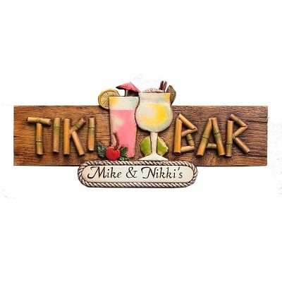 tiki-bar-personalized-sign Tiki Bar Ideas & Tiki Bar Decorations