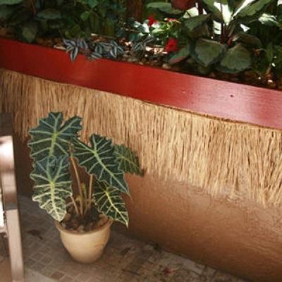 tiki-bar-ruffia-fringe-skirt Tiki Bar Ideas & Tiki Bar Decorations