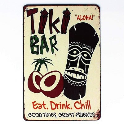 tiki-bar-tin-sign-eat-drink-chill Tiki Bar Ideas & Tiki Bar Decorations