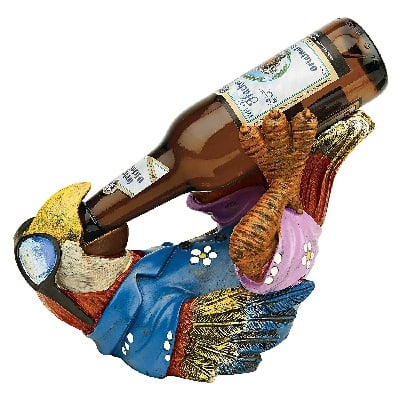 tropical-beer-buddy-tiki-parrot-bottle-holder Tiki Bar Ideas & Tiki Bar Decorations