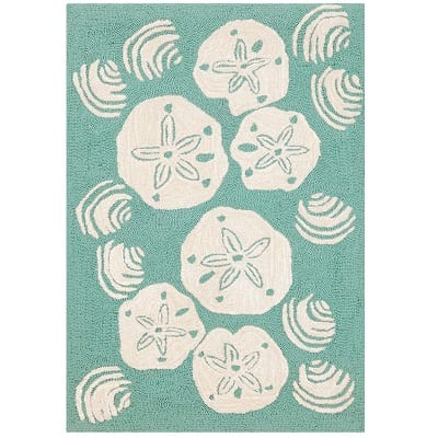 whimsy-beach-rocks-aqua-sand-dollar-area-rug Beach Rugs and Beach Area Rugs