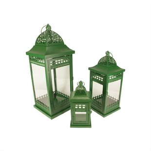 3PieceOrnatePillarGlassandMetalLanternSet Beach Wedding Lanterns & Nautical Wedding Lanterns