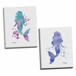 27PurpleMermaidandBlueandPurpleMermaidBubbles272PieceWatercolorPaintingPrintSet Mermaid Home Decor