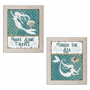 27TraditionalUndertheSeaMermaidandMakeSomeWavesMermaid272PieceGraphicArtPrintSet Mermaid Home Decor