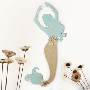 DecorativeDistressedMermaidIronandLinenBurlapWidgetWallDecor Mermaid Home Decor