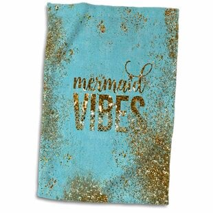 HeribertoMermaidVibes-GlitterSayingandMermaidIllustrationHandTowel Mermaid Home Decor