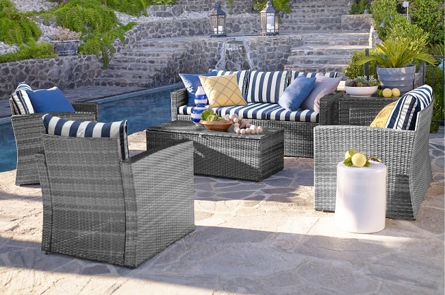 Coastal-Outdoor-Design-by-Wayfair-in-Patios-and-Porches Wicker Ottomans and Rattan Ottomans