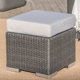 cabral-outdoor-ottoman-with-cushion Wicker Ottomans and Rattan Ottomans