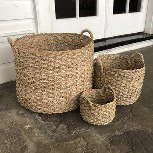 handwoven-round-banana-leaf-3-piece-wickerrattan-basket-set Wicker Baskets and Rattan Baskets