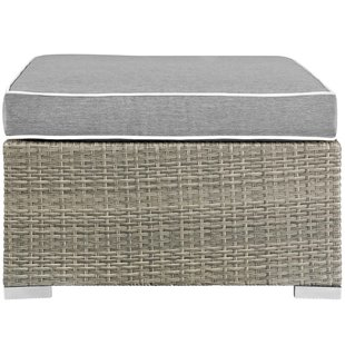 heinrich-outdoor-upholstered-fabric-patio-ottoman-with-cushion Wicker Ottomans and Rattan Ottomans