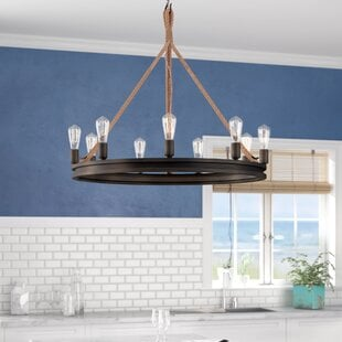 longfellow-9-light-wagon-wheel-chandelier Beach Themed Chandeliers