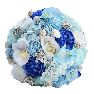 Abbie-Home-Bridal-Bouquet-Blue-Brooches-for-Beach-Wedding Beach Wedding Decorations & Coastal Wedding Decor