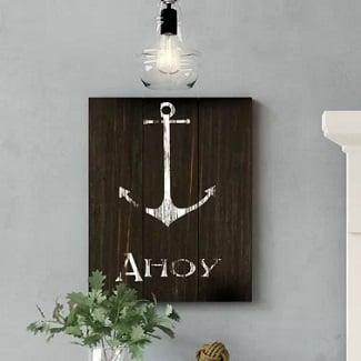 Anchor-Wood-Wall-Art Nautical Wooden Signs & Nautical Wood Wall Decor