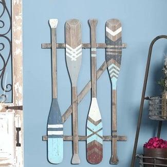 Coastal-Oars-Wall-Decor Nautical Wooden Signs & Nautical Wood Wall Decor