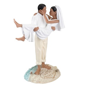 Lillian-Rose-African-American-Beach-Figurine-Wedding-Cake-Topper 100+ Beach Wedding Decorations and Ideas