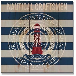 Nautical-Craftsman-Striped-Graphic-Art-Print-on-Wood Nautical Wooden Signs & Nautical Wood Wall Decor