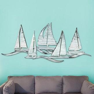 Sailing-Fleet-Costal-Wooden-Wall-D%C3%A9cor Nautical Wooden Signs & Nautical Wood Wall Decor