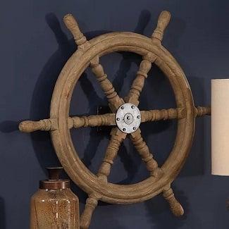 Ship-Wheel-Wood-Wall-Decor Nautical Wooden Signs & Nautical Wood Wall Decor