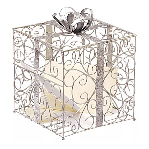 Silver-Wedding-Reception-Gift-Card-Holder 100+ Beach Wedding Decorations and Ideas