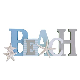 Wooden-Beach-Word-Sign-with-Trio-of-Loose-Starfish Wooden Beach Signs & Coastal Wood Signs