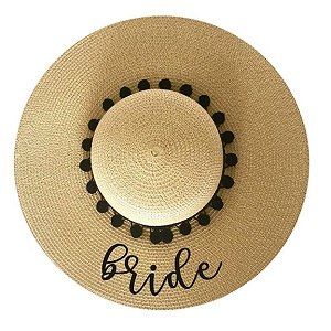bride-straw-hat Beach Wedding Decorations & Coastal Wedding Decor