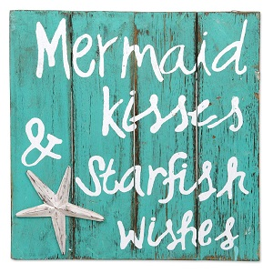 mermaid-kiss-starfish-wishes-wood-sign Wooden Beach Signs & Coastal Wood Signs