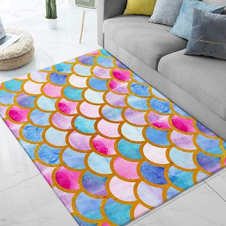 mermaid-scales-rug 50+ Mermaid Themed Area Rugs