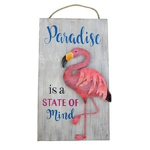 paradise-flamingo-wooden-sign Wooden Beach Signs & Coastal Wood Signs