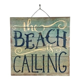 the-beach-is-calling-wood-sign Wooden Beach Signs & Coastal Wood Signs