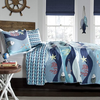 Fish-Ocean-Wave-Quilt-Set Nautical Bedding Sets & Nautical Bedspreads