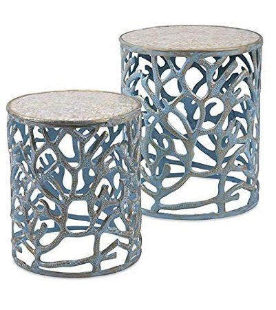 Imax-Coral-Mother-of-Pearl-End-Tables 100+ Coastal End Tables and Beach End Tables