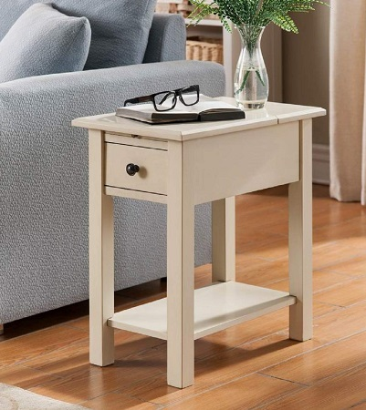 One-Source-Living-Antique-White-End-Table 100+ Coastal End Tables and Beach End Tables