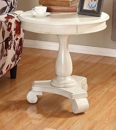 Roundhill-Furniture-Rene-Round-End-Table 100+ Coastal End Tables and Beach End Tables