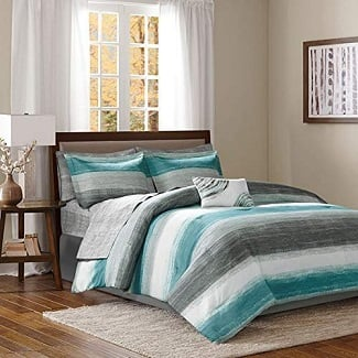 aqua-blue-and-grey-watercolor-comforter Nautical Bedding Sets & Nautical Bedspreads