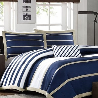 blue-white-khaki-nautical-stripe-comforter Nautical Bedding Sets & Nautical Bedspreads
